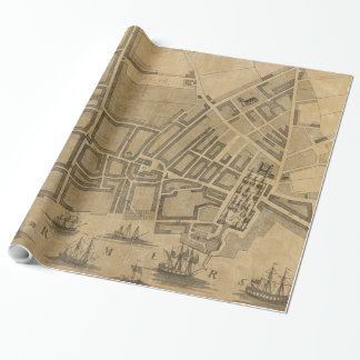 Vintage Map of Liverpool England (1725) Wrapping Paper