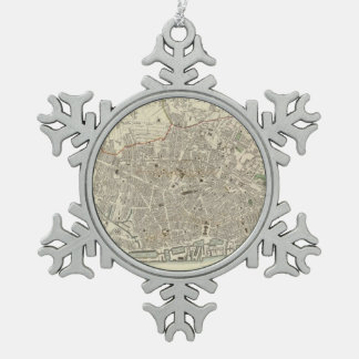 Vintage Map of Liverpool England (1836) Snowflake Pewter Christmas Ornament