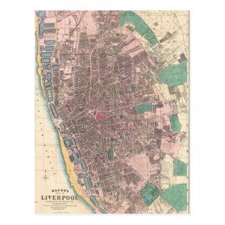 Vintage Map of Liverpool England (1890) Postcard