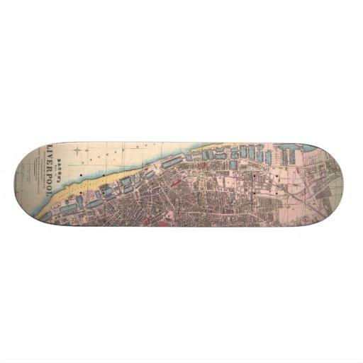 Vintage Map of Liverpool England (1890) Custom Skate Board