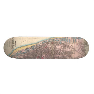 Vintage Map of Liverpool England (1890) Skateboard Deck
