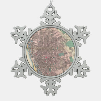 Vintage Map of Liverpool England (1890) Snowflake Pewter Christmas Ornament