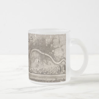 Vintage Map of London (1693) Frosted Glass Coffee Mug