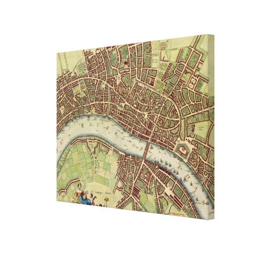 Vintage Map of London (17th Century) Stretched Canvas Prints