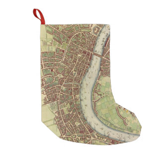 Vintage Map of London (17th Century) Small Christmas Stocking