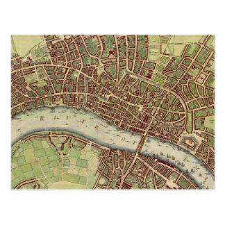 Vintage Map of London (17th Century) Postcard