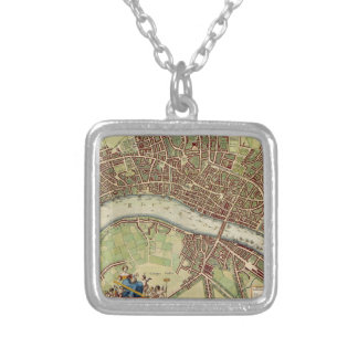 Vintage Map of London (17th Century) Silver Plated Necklace