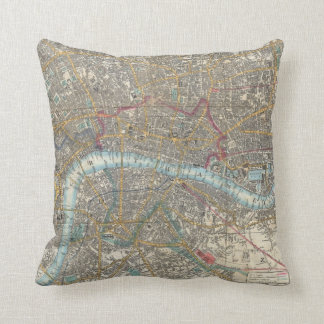 Vintage Map of London (1848) Throw Pillow