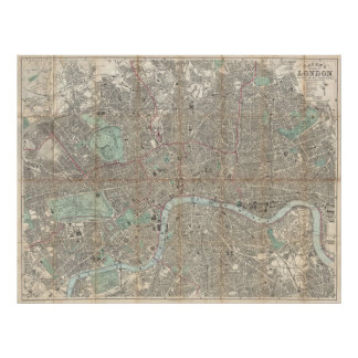 Vintage Map of London (1890) Poster