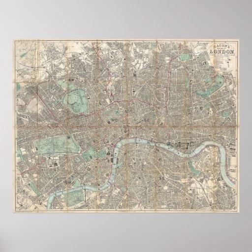 Vintage Map of London (1890) Print