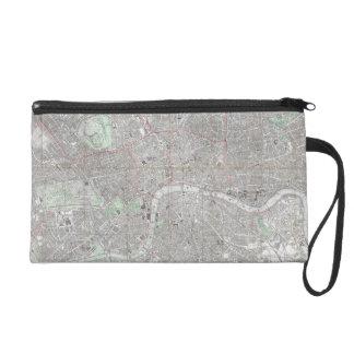 Vintage map of London city Wristlet