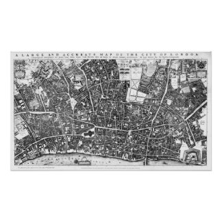 Vintage Map of London England (1677) Poster