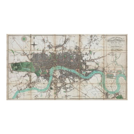 Vintage Map of London England (1806) Poster