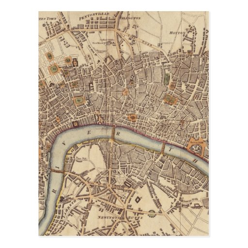 Vintage Map of London England (1807) Postcards