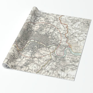 Vintage Map of London England (1832) Wrapping Paper