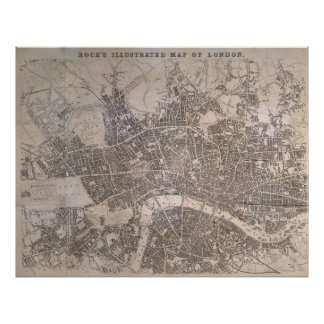 Vintage Map of London England (1845) Poster