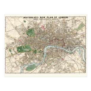 Vintage Map of London England (1853) Postcard