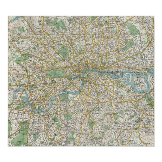 Map Of London 1900.Vintage Map Of London England 1900 Poster Zazzle Co Uk
