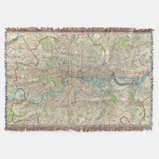 Vintage Map of London England (1900) Throw Blanket