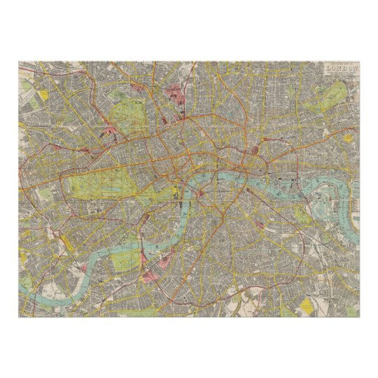 Vintage Map of London England (1910) Poster