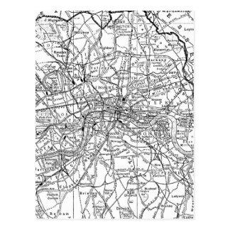 Vintage Map of London England (1911) Postcard