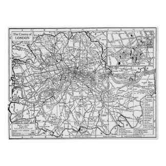 Vintage Map of London England (1911) Poster