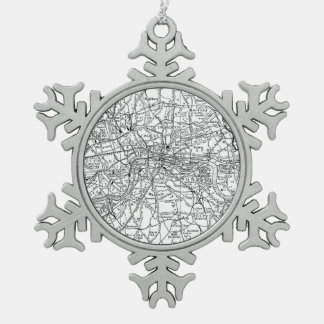 Vintage Map of London England (1911) Snowflake Pewter Christmas Ornament