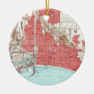 Vintage Map of Long Beach California (1964) 2 Christmas Ornament