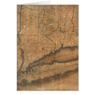 Vintage Map of Long Island and Connecticut (1815) Card