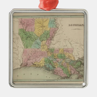 Vintage Map of Louisiana (1838) Silver-Colored Square Decoration