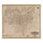 Vintage Map of Louisville Kentucky (1873) Poster