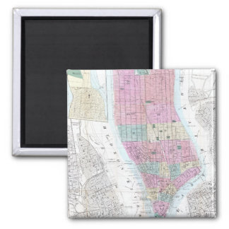 Vintage Map of Lower Manhattan (1865) Square Magnet