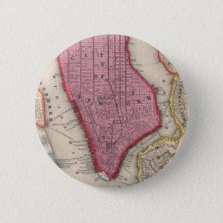 Vintage Map of Lower New York City (1860) 6 Cm Round Badge