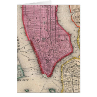 Vintage Map of Lower New York City (1860) Card