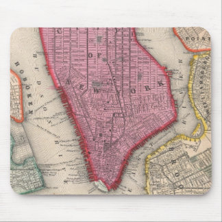 Vintage Map of Lower New York City (1860) Mouse Mat