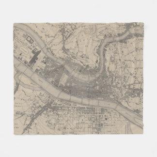 Vintage Map of Lyon France (1854) Fleece Blanket