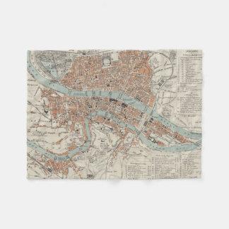 Vintage Map of Lyon France (1888) Fleece Blanket