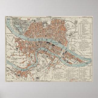 Vintage Map of Lyon France (1888) Poster