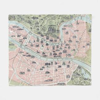 Vintage Map of Lyon France (1894) Fleece Blanket