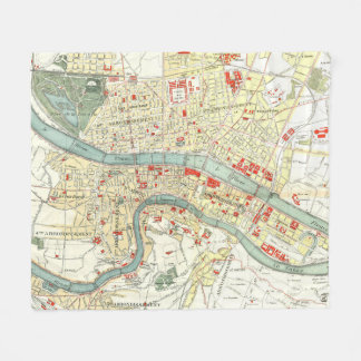 Vintage Map of Lyon France (1900) Fleece Blanket