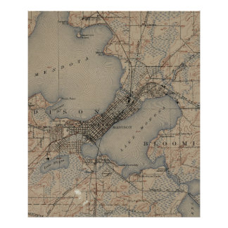 Vintage Map of Madison Wisconsin (1904) Poster