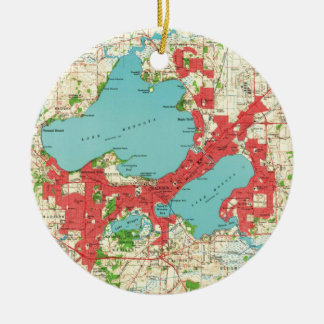 Vintage Map of Madison Wisconsin (1959) Christmas Ornament