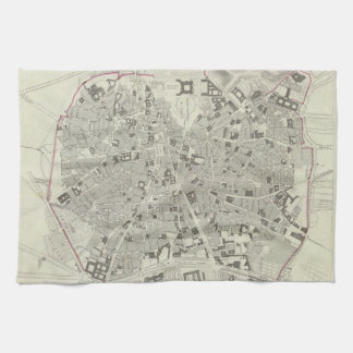 Vintage Map of Madrid Spain (1831) Tea Towel