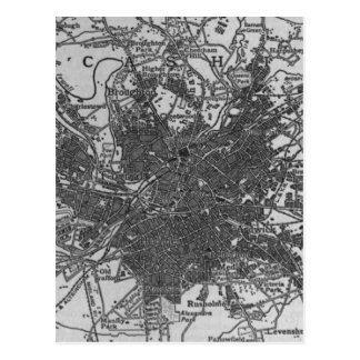 Vintage Map of Manchester England (1911) Postcard