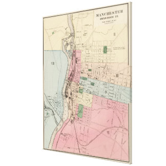 Vintage Map of Manchester New Hampshire (1877) Canvas Prints