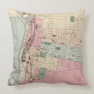 Vintage Map of Manchester New Hampshire (1877) Throw Pillows