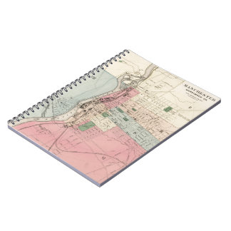 Vintage Map of Manchester New Hampshire (1877) Spiral Note Book