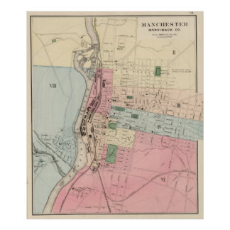 Vintage Map of Manchester New Hampshire (1877) Poster