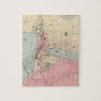 Vintage Map of Manchester New Hampshire (1877) Jigsaw Puzzle