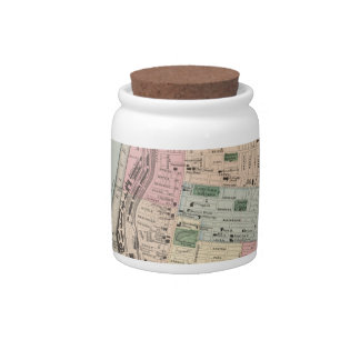 Vintage Map of Manchester New Hampshire (1877) Candy Jars